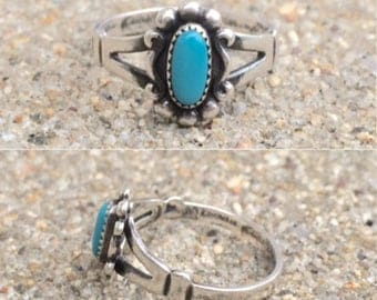 vintage Native American Bell Trading Post sterling silver sleeping beauty turquoise southwestern ring size 7