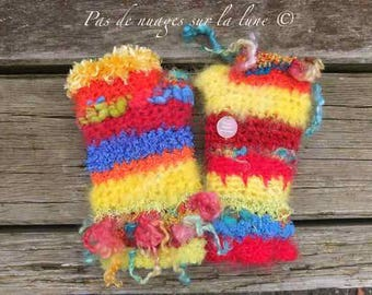 Hand spun wool and wool trade mittens