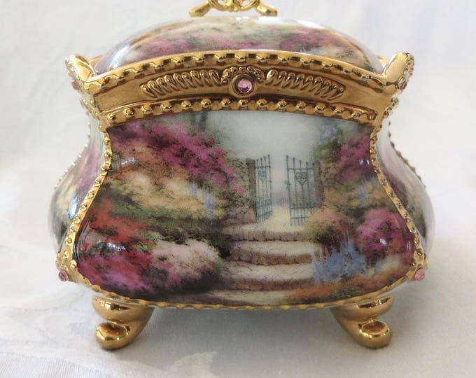 Vintage Thomas Kinkade Music Box, Memories, Sympathy Gift, Musical Jewelry Box, Vanity Box