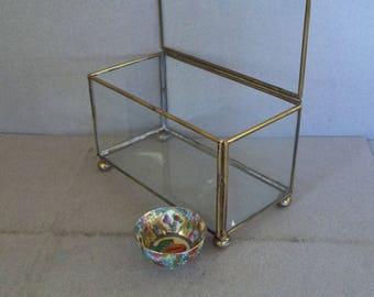 Vintage Brass & Glass Box - Glass Display Box - Jewelry Box - Mid Century Glass Box