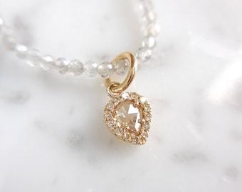 "Diamond and Labradorite Necklace, Rose Cut Diamond Pendant, Clear White Rose Cut Diamond, Labradorite, Diamond Halo, 14 k Gold, 16"""