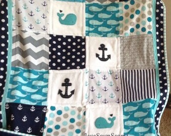 "TEAL/NAVY Nautical CRIB size 38"" x 52"" quilt/Whale/Anchor quilt/Handmade quilt/Baby Bedding"