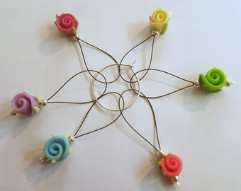 Rose snagless stitch markers