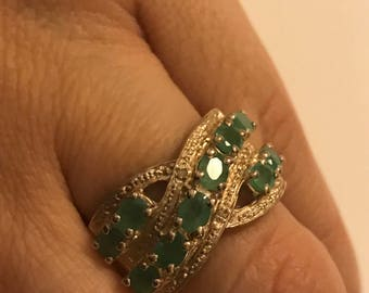 Sterling Silver Emerald Ring Size 7