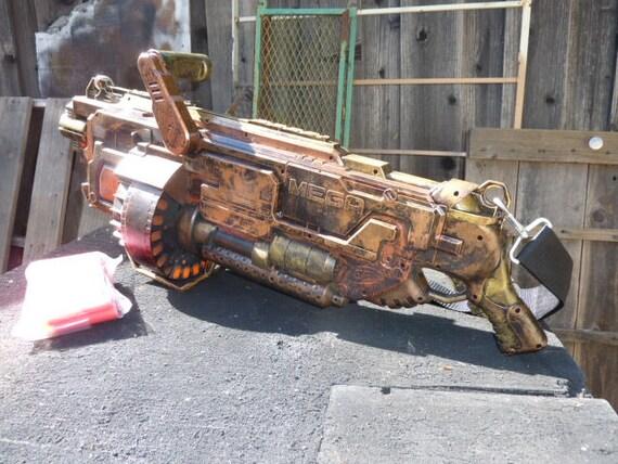 Steampunk nerf mega mastodon blaster one of a kind dominate for Nerf motorized rapid fire blasting