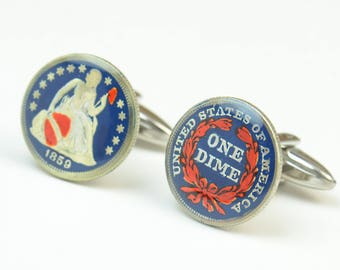 One Dime antique Cufflinks-one dime coin United States
