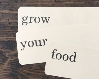 grow your food • vintage flash card trio • Dick and Jane flashcards • Allyn and Bacon word cards | farm to table
