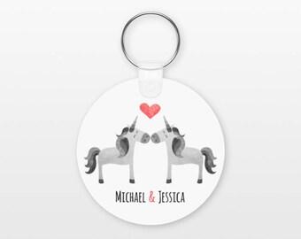 Unicorn Keychain, Couple Keychain Personalized Keychain, Boyfriend Keychain Girlfriend Keychain, Couple Key Chain, Animal Keychain, Keyring