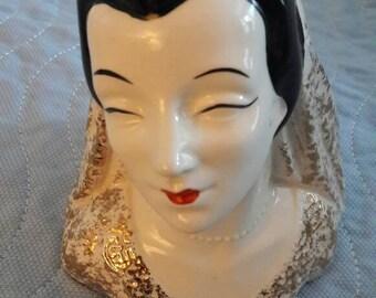 Beautiful Vintage Asian lady head vase
