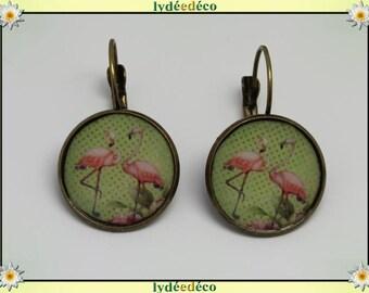 Retro round sleeper exotic vintage Flamingo Pink flamingo green resin brass 2cm