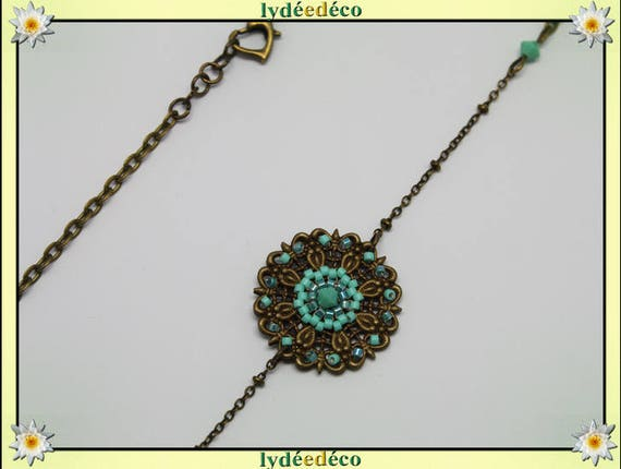 Vintage flower headband prints and pastel turquoise green glass beads bronze