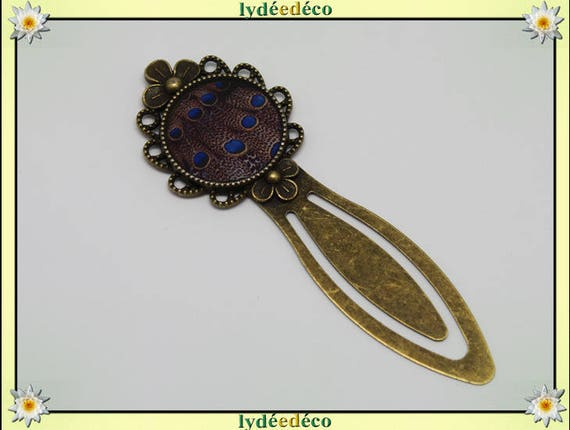 Retro blue and Brown Peacock feather bookmark brass and resin