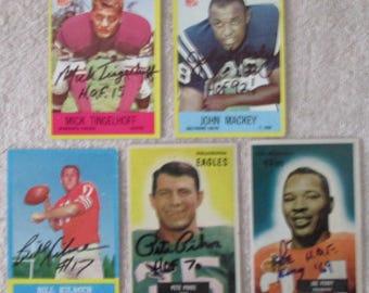 Football Hall of Fame lot 5 autographed football cards Perry, Mackey,Kilmer etc