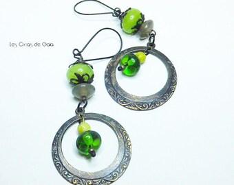 Earrings sedan • glass beads and metal • ethnic/rock Look