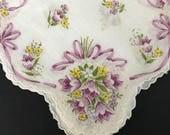Vintage Hankie Purple Florals Repurpose Soft Cotton Handkerchief Hanky Purple Yellow Green Flowers on White Spring Accessory