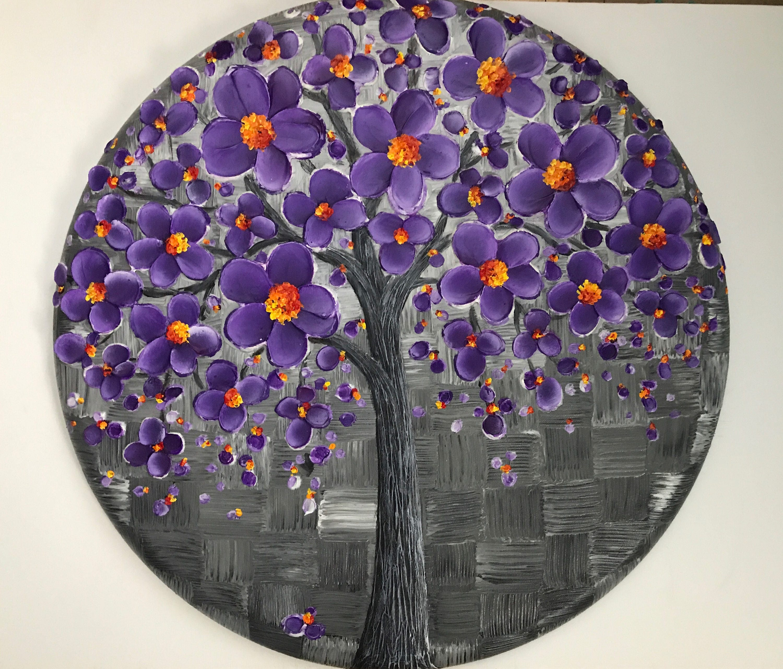peinture toile ronde murale d cor blanc lavande arbre violet. Black Bedroom Furniture Sets. Home Design Ideas