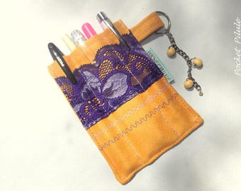 Kit for pens, faux leather sand colored Suede, purple lace