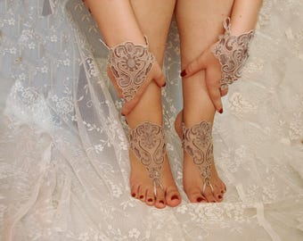 Beach wedding shoes etsy beach wedding barefoot sandals coffee lace barefoot sandals beach wedding shoes junglespirit Images