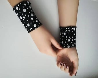 Black Lace Bracelet, Polka dot Lace Arm Band Tattoo Cover Up Lace Wrist Bracelet wrist cuffs Stretch lace bracelet wristlet