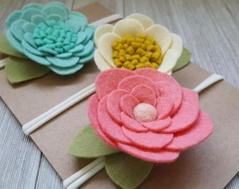 3 Felt Flower Headbands.......baby headband.............photo prop......floral crown