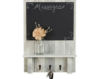 Message Center with Chalkboard, Display Shelf, and Key Hooks | 24 x 17.5 Inch (Whitewash)