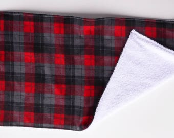 Red Plaid Baby Burp Cloth, Buffalo Plaid, Snuggle Flannel Burp Cloth, Large Burp Cloth, Burp Rag, Baby Item, Baby Accessory