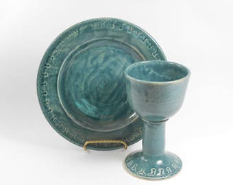 Pottery communion set - chalice and paten set - blue communion set - liturgical ware - communion ware W253