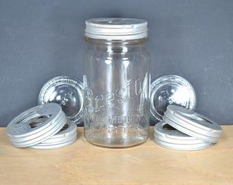 Vintage Presto Wide Mouth Glass Top Canning Jar +3 Glass Tops (Lid Discs) & 5 Metal Lid Rings, Vintage Duraglas D9, Owens-Illinois Glass Co