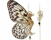 Boucles d'oreille asymétriques véritables ailes de papillon Rice Paper