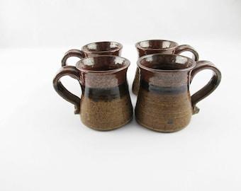 4 Hand-thrown Ceramic Mugs - Coffee, Cocoa, Whatever - Two-tone Brown Glazed Stoneware Mugs - Large Handle Mugs - 8 Ounce Mugs - Four Mugs