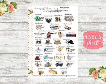 Celebrate September Planner Stickers - National Holiday Stickers - Special Days Stickers - Wacky Holiday Stickers - Holiday Stickers - WH09