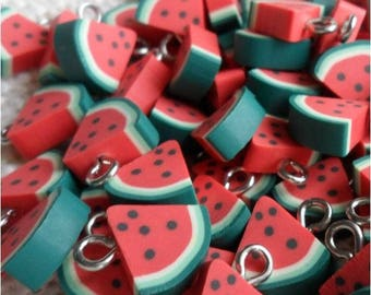 1 district of polymer clay watermelon slice pendant