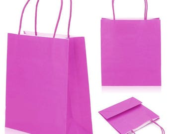 Set of 5 paper bags bags Pink 8 x 18 x 22 cm with cuffs