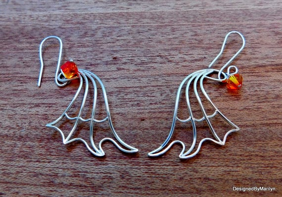Sterling silver dragon wing earrings, fire opal/diamond/black swarovski crystal earrings, mythical necklace, birthstone necklace