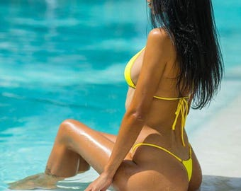 Yellow shimmer gstring bikini