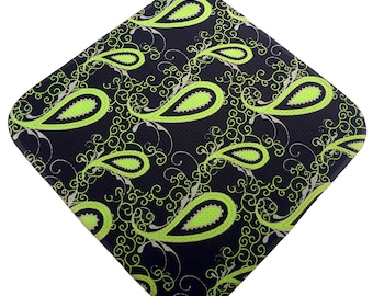 Lime and Black Paisley Print Microfiber Women's Golf Towel two great looks in one.