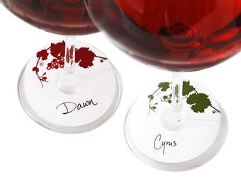 Glass Tags - Write the name of the glass holder on the tag & tag the glass - 24 Pack (12 Red and 12 Green)