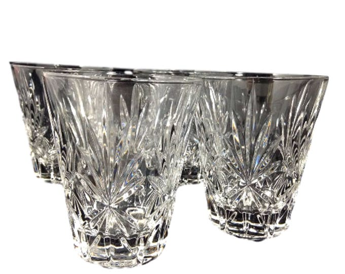 Low Ball Glasses, 4 Mid Century Modern Crystal Bar Glasses, Rocks Crystal Glass, Cocktail Glasses, Old Fashioneds, Whiskey Glasses