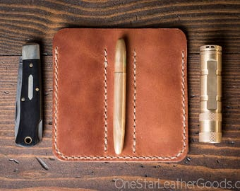 "EDC-3, every day carry pocket knife/pen/light case, for knives up to 3.75"" closed - black or chestnut"