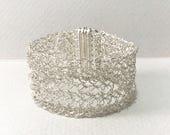 Handmade Silver Cuff Bracelet, Wire Crochet bracelet, Statement Cuff, Crochet Cuff, Gift for her bracelet, Dressy bracelet, Cool Cuff,