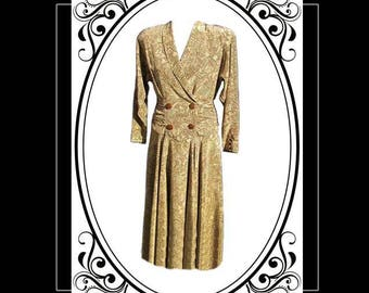 Gathered Waist Dress with Criss Cross Bodice, Belted in Back, Beige & Brown Linen Fabric - Fits Size Small