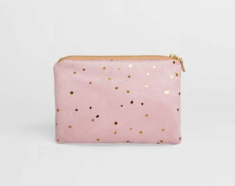 Bronze and Pink Zip Pouch, Bridesmaid Gift Ideas, Faux Suede Makeup Bag, Pink Faux Leather Wallet, Gold Makeup Bag, Vegan Cosmetic Bag