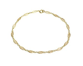 14k Gold Filled Anklet, Scroll Chain Anklet, Thin Gold Anklet, Minimalist, Gold Bracelet