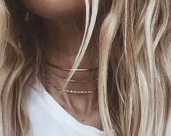 Gold Chain Choker, Gold Choker, Gold Necklace, Satellite Chain, Thin Choker