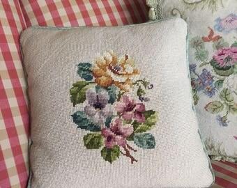 Country English Farmhouse Pansy  Needlepoint Pillow