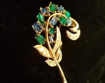 Vintage Blue and Green Crystal Brooch Set with Rhinestones, Trifari, ca 1950s