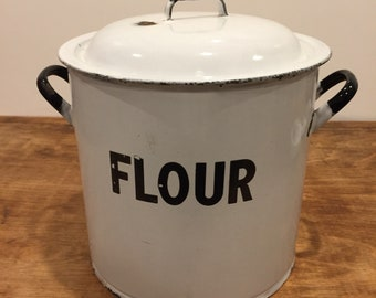 Vintage enamel white and blue flour storage bin with lid