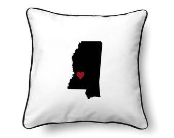 Mississippi Pillow - Mississippi Gift - Mississippi Map - MS State Map