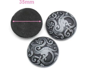 1 gray cabochon in resin, Dragon Celtic 35mm round