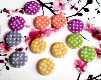 Set of 4 buttons 18mm resin polka dots, 2 holes, white dots to choose different colors